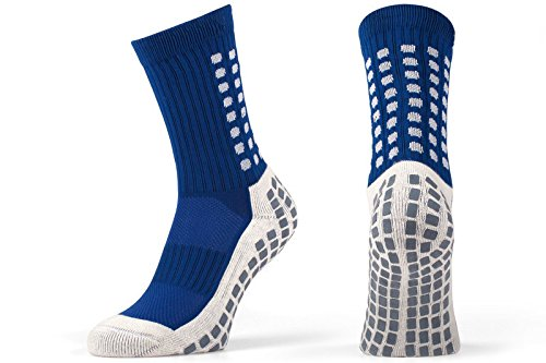 Rutschfeste Fußball Socken, rutschfeste Sport Socken, Gummi-Pads, trusox/tocksox Style, Top Qualität, Basketball, Fußball, Wandern, Laufen, hier in weiß, schwarz, rot, blau Blau blau UK 5.5 - 11
