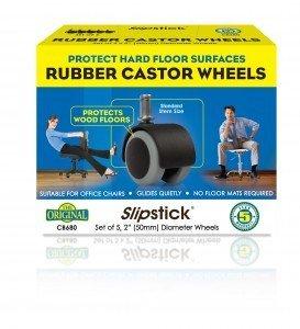 Slipstick Rubber Castor Wheels CB680 - Ruote per sedie ufficio con rivestimento in gomma