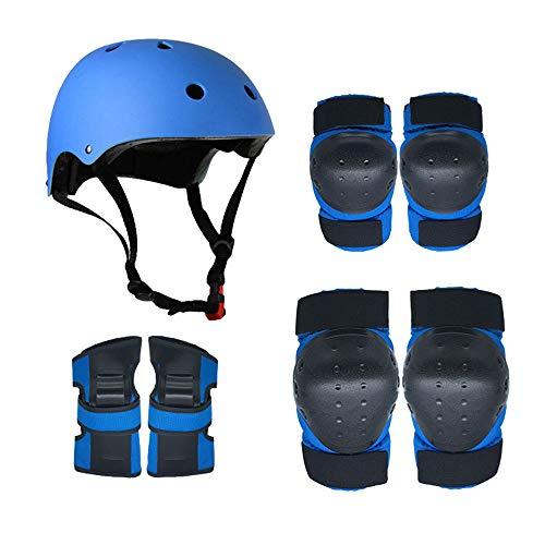 Douerye Rollschuh-Schutzgetriebe Helm Kind Erwachsene Balance Auto Skating + Skifahren + Rollerskates Schutzgetriebe Scooter Riding Kniepolster,Blue,L