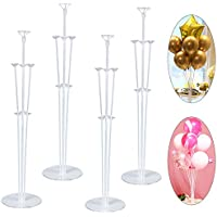 "Table Balloon Stand Kit,4 Set 28"" Table Balloon Stick Holder Clear Balloon Cup with Balloon Pole and Flower Stand Base Table Desktop Support Holder for Graduation/Wedding/Birthday Party Decorations"