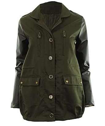 grün M 38 - Valene Frauen Kontrast Military Kunstleder Sleeve Parka Damen Jacke