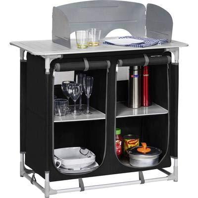 Berger Küchenbox Camping Sideboard, Alugestell, schwarz/grau, inkl. Windschutz und Tragetasche, Aufbau-Schrank Camping Küche