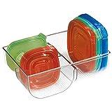 mDesign Rangement de couvercles de tupperware - Organiseur-Cuisine Transparent - Range-ustensiles Placard pour Une Cuisine Plus ordonnée - avec Trois Compartiments pour Un