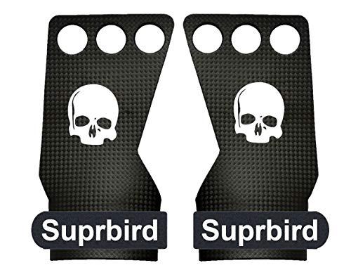SUPRBIRD Carbon Hand Grips für Gymnastik, Crossfit, Klimmzüge & Gewichtheben - Pull Up Grips für mehr Komfort & perfekten Halt - idealer Handschutz vor Rissen & Blasen - Damen & Herren