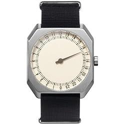 slow Jo 12 - Black Nylon Silver Case Creme Dial Unisex Quartz Watch with Beige Dial Analogue Display and Black Nylon Strap