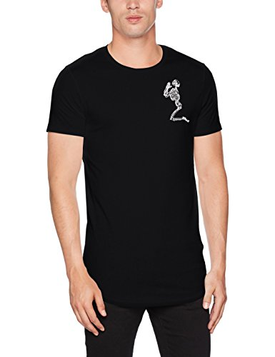 Religion Herren T-Shirt Praying Skeleton Longline Tee, Schwarz, L