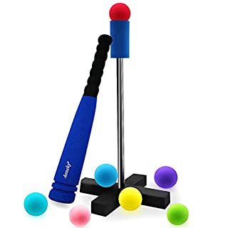 Aoneky Mini Foam Tball Set for Toddler with Stand - Carry Bag Included - Safe Baseball T Ball Toys for Kids Age 2 - 5 Years Old (Blue)