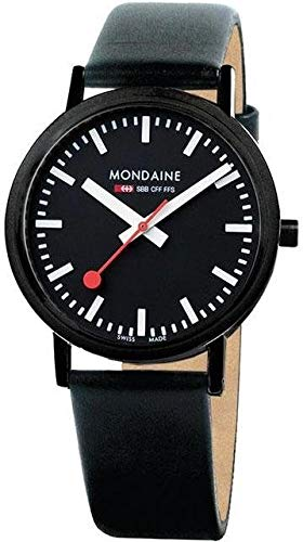 Mondaine Classic Watch Black 36 mm Leather Strap Swiss Quartz A660.30314.64SBBS Unisex