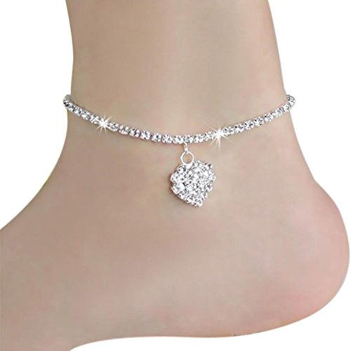 BZLine 1 pc Ladies sterling silver Crystal Anklet Summer Elegant Women Graceful lovely Heart full diamond shines anklet Simple personality Handmade Jewelry Foot Anklet Gift for Bride Wedding Party