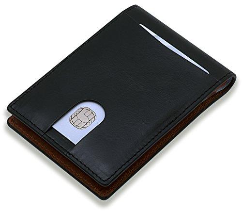 Designer Portemonnaie für Herren aus feinstem Leder mit Geldklammer | Kartenetui mit RFID-Schutz | Kleine Geldbörse für Ihre Kreditkarten