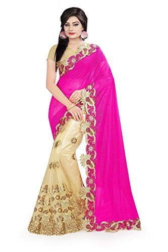 Surat Tex Women\'s Lycra & Net Embroidered Saree with Blouse Piece (Pink & Cream)