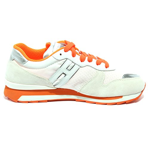 B1413 sneaker donna HOGAN REBEL ALLACCIATO ALTRAVERSIONE scarpa shoe woman bianco/arancione/argento