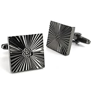 Konov Jewellery 2pcs Quadrate Men's Cufflinks Wedding, Color Black, 1 Pair (with Gift Bag)