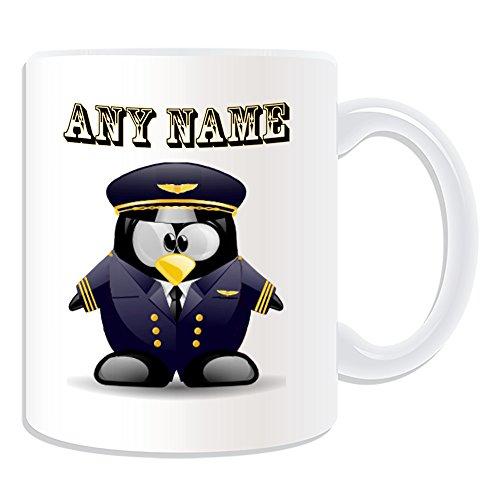 Personalisiertes Geschenk-Pilot in Marineblau Tasse (Pinguin in Kostüm Design Thema, weiß)-alle Nachricht/Name auf Ihre einzigartige-Aviator Uniform Aircraft