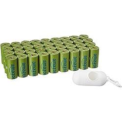 AmazonBasics - Bolsa mejorada para heces de perro con dispensador y pinza para correa - 540 unidades, polvo de talco