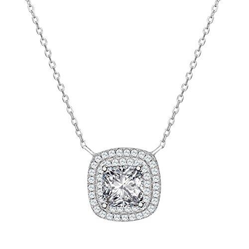 Kette Damen, ATMOKO 925 Sterling Silber Halskette, 3A Zirkonia Schmuck Glänzender Quadratischer Anhänger Halskette Perfektes Geschenk für Damen Frauen Mädchen Mutter Freundin