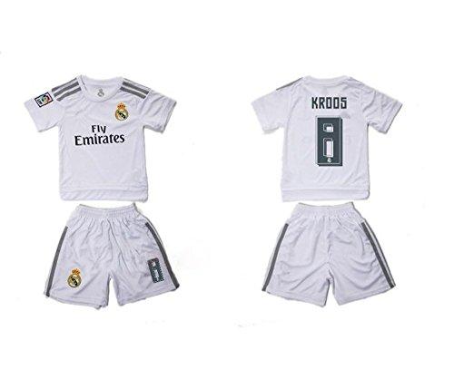 Top Verkauf Real Madrid CF 8Toni Kroos Home Fußball Jersey für Kinder Kid Jugend in weiß Small weiß (Weiß Jugend Jersey Home)