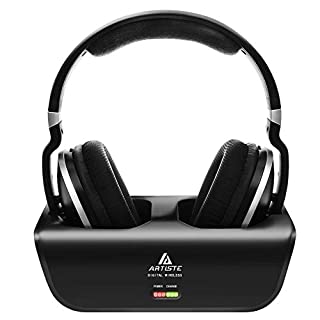 Artiste ADH300 Funkkopfhörer für Fernseher, 2.4GHz UHF/RF Over-Ear Digital Stereo Kopfhörer für TV, 100ft Distanz Sender Wiederaufladbare Ladestation