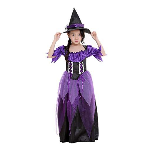 Hexen-kostüm Kleid und Hut für Mädchen Halloween Weihnachten Kostüm in Schwarz-Lila.Größe S M L
