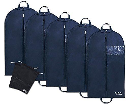 Anzugtasche Multipack - Hemdentasche - Blusentasche - 110x60cm - Kleidersack aus Oxford Gewebe - Premium Anzughülle (5-er Pack + 2 x Schuhbeutel)