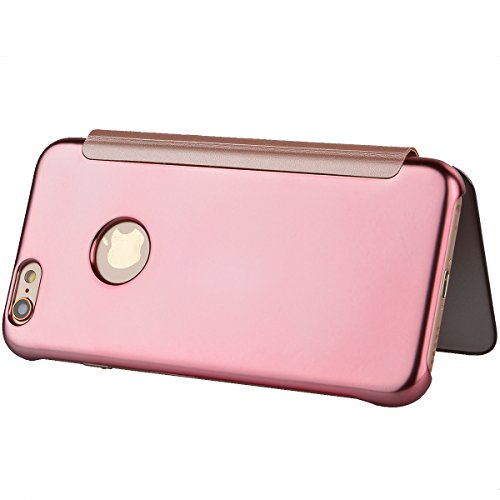 Coque iPhone 6, Housse iPhone 6S Rose d'or, GrandEver Etui PU Flip Miroir Surface PU Leather Case Folio Cover Couverture Coque Folio Housse Protective Cover Protector Coquille pour Apple iPhone 6/iPho Rose d'or