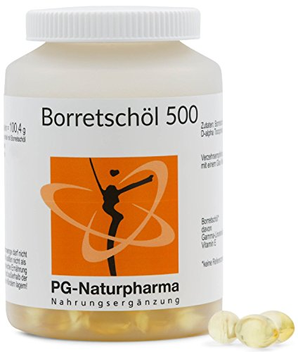 Aceite de borraja - 150 cápsulas con 500 mg de aceite de borraja - con ácidos grasos omega-6, ácido gamma-linolénico y vitamina E - (suministro de 2 meses)