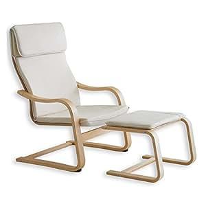 Relaxsessel LINA mit Hocker Fernsehsessel Sessel Schwingstuhl Freischwinger, waschbarer Stoffbezug in beige