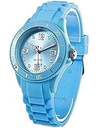 Reloj - SODIAL(R)Clasico Elegante Silicona Banda de Jalea Reloj de pulsera de mujer (Azul claro)