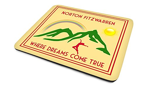Norton Fitzwarren .'Where Dreams Come True', Art Deco Style, Humorous, Village, Town, Or City Location, Mouse Mat, 23cm x 18cm x 5mm approximately