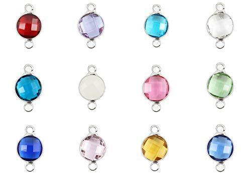 Top Qualität Geburtsstein Charms österreichische Kristall-Perlen Sterling versilbert für Ohrringe Armband Halskette Fußkettchen Schlüsselanhänger Schmuck herstellen 8mm 3) 8mm, 12 birthstone charms