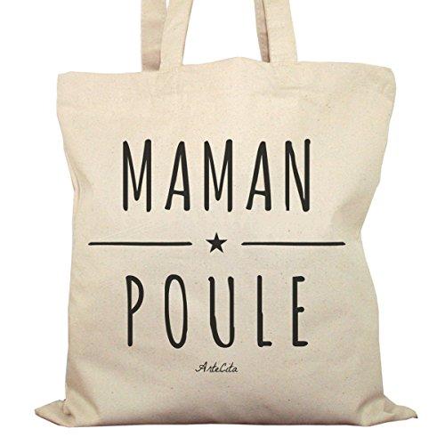 Tote Bag Imprimé Ecru - Toile en coton bio - Maman Poule