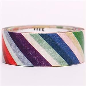 Nastro adesivo decorativo Washi mt righe colorate diagonali