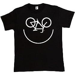 Fancy A Snuggle–Camiseta de manga corta para hombre con dibujo de cara de bicicleta sonriente Negro negro Large