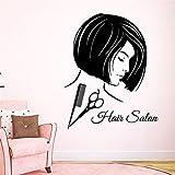 shiyueNB Nome Personalizzato Acconciatura Acconciatura Ragazza Trucco Viso Home Art Deco Murale Adesivo da Parete Rimovibile Art Deco Adesivo da Parete in Vinile 58x70 cm