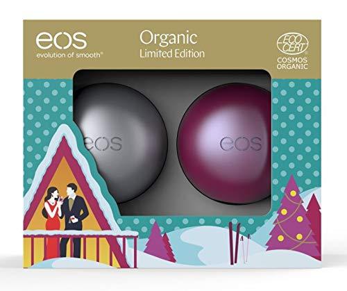 eos Limited Edition 2018 Organic Lip-Set, Sugarplum & First Snow Lippenbalsam, kleines Weihnachtsgeschenk, Beauty-Produkte für die Winterzeit, 2er Set
