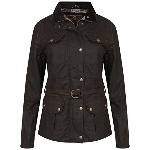 Elvedon Squire Damen Jacke, Braun, gewachste Jacke mit Gürtel, wasserdicht- Gr. EU 40 / UK 14, Braun im antik-finish -