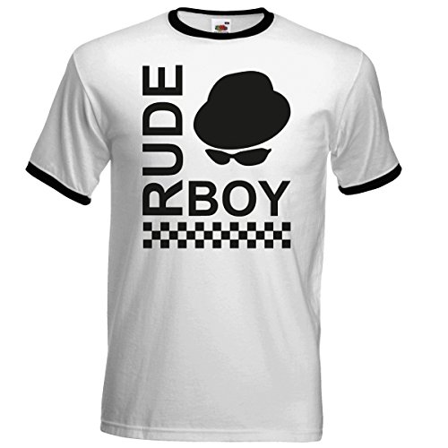 Rude Boy Pork Pie Hat Ringer T Shirt