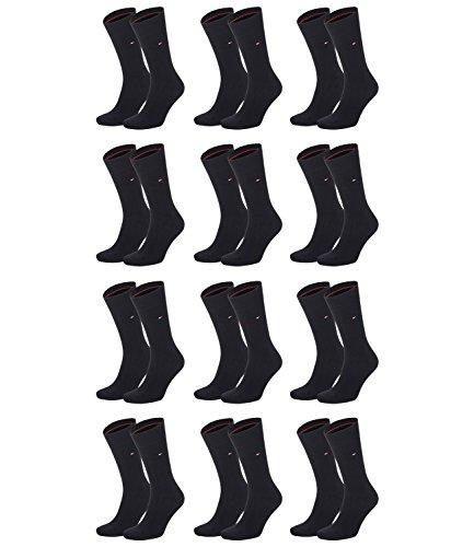 TOMMY HILFIGER Herren Classic Casual Business Socken 12er Pack (js), Schwarz, 39/42 -