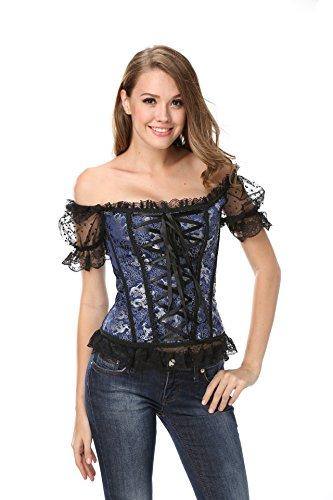Corsagentop Damen Vollbrust Corsage Top mit Ärmel Taillen Korsett Bustier Corset Dirndl Bluse Trachten Shirt Blau XL