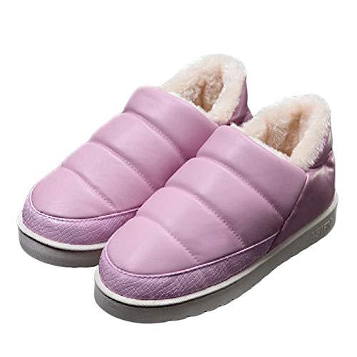 Lammfell Ankle Boot Hausschuhe (Mini Balabala Damen Hausschuhe Lammfell Hausschuhe Mokassin flauschigem Fellkranz Dicke Lammfell, 16 Pink, 37/38 EU)