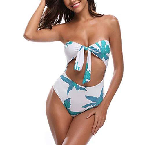 IOSHAPO Damen Hohe Taille Bikini Vorderer Hals Strand Badebekleidung EIN Stück Badeanzug -