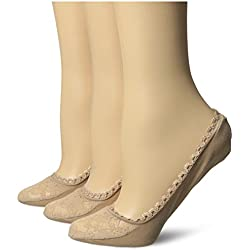 Via Spiga Women s 3 Pack Lace Shoe Liner No-Show Sock Nude One Size