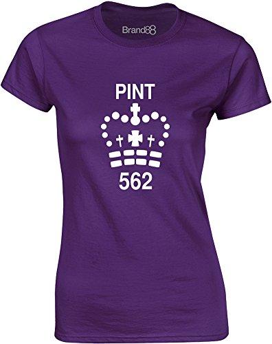 Brand88 - Pint, Gedruckt Frauen T-Shirt Lila/Weiß