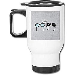 Geek Glasses - Vaso de acero inoxidable de 16 oz, taza de café de vacío de doble pared con tapa a prueba de salpicaduras