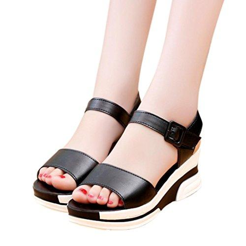 Amlaiworld Donna Sandali,Moda Scarpe basse di peep-toe sandali romani Nero
