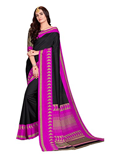 Samskruti Sarees Women Art Silk Printed Saree(SPAS-60,Black)