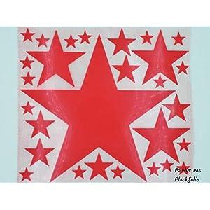 Bügelbild, Motiv: Sterne, Farbe: rot, Setgröße: maxi, heißsiegelfähige Flockfolie auf Basis von Viskosefasern