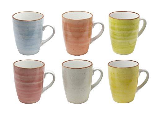 Tee-becher-set (6er Set Kaffee Becher Tassen Tee Kakao Pott Porzellan Uni bunt Modernes Design ca. 350 ml (Grün,Gelb,Rot,Orange,Hellblau und Natur))