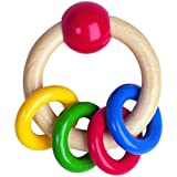 Heimess 733490 Wooden Ring Rattle (4 Coloured Rings)