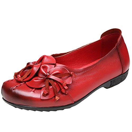 Bild von Vogstyle Damen Frühjahr/Sommer Vintage Handgefertigte Große Blume Leder Flache Schuhe